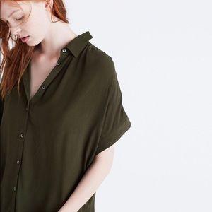 Madewell green Central shirt